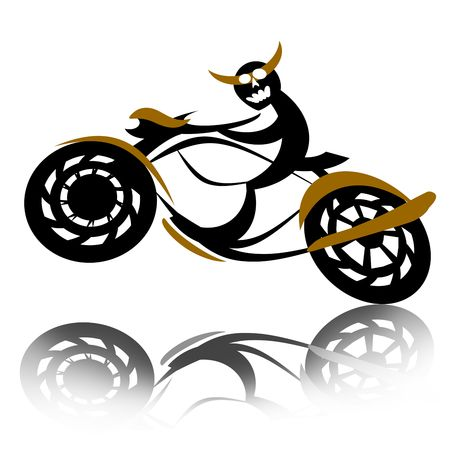 wild reckless devil biker speed riding motorcycle over white background Stock Photo - 8080892