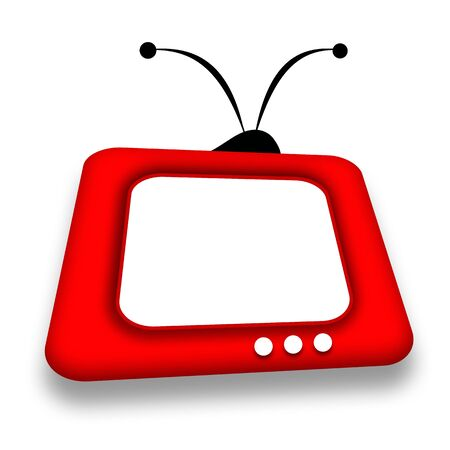 telecast: Friendly childly red TV box with blank screen over white background