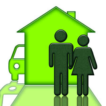 viviendas: Personas cerca de casa y autom�vil aislados sobre fondo blanco