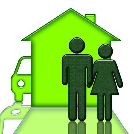 housing: Personas cerca de casa y autom�vil aislados sobre fondo blanco