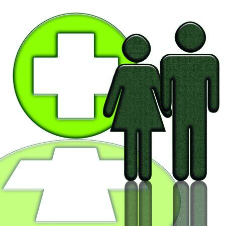 hospitalisation: Ic�ne m�dical avec les gens et incident isol� sur fond blanc