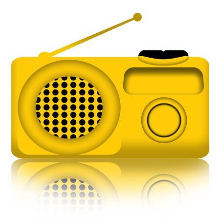 portative: Ricevitore radio giallo su sfondo bianco