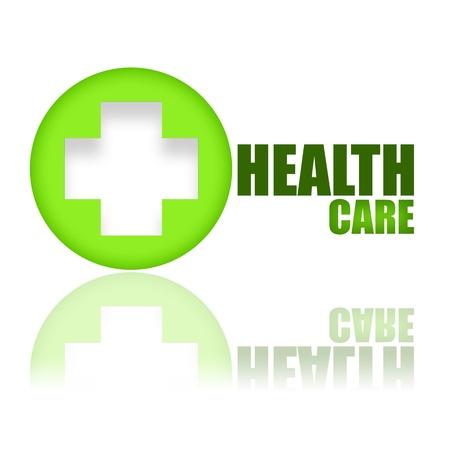 logo medicina: Clave del concepto de bienestar de salud sobre fondo blanco