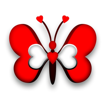 red butterfly: Red decorative butterfly with heart wings