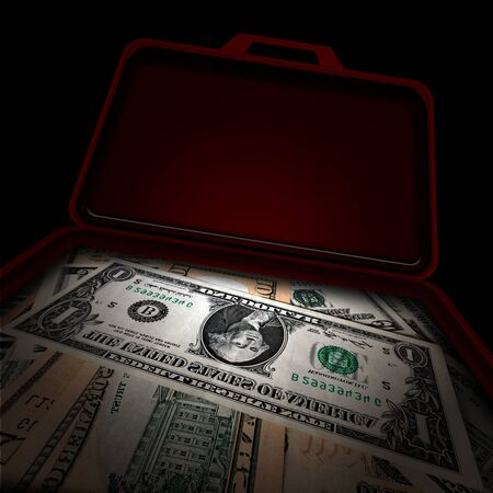 american money: Suitcase full of money over black background