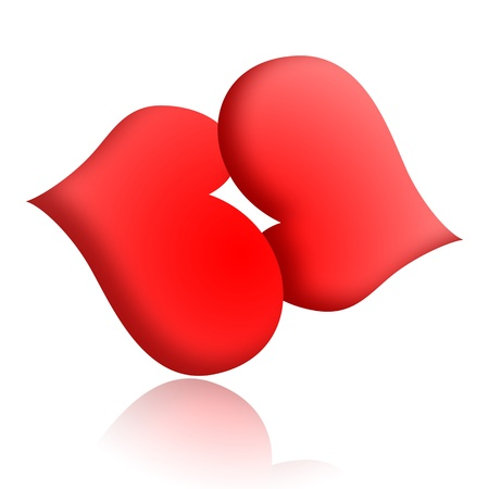 Kiss on the lips, kissing couple of red hearts isolated over white background Stock Photo - 8679866