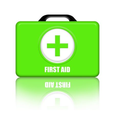 rejuvenation: Green first aid medical kit over white background  Stock Photo