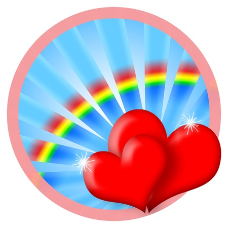 Happy Love, red heart couple and colorful rainbow in blue sky isolated over white background photo