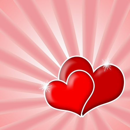 hot couple: Valentine Love, Couple of red hearts over bright shining pink background