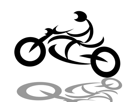 casco de moto: Motociclista extrema en motocicleta silueta, ilustraci�n sobre fondo blanco