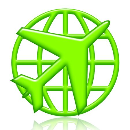 Airplane and globe green icon isolated over white background photo