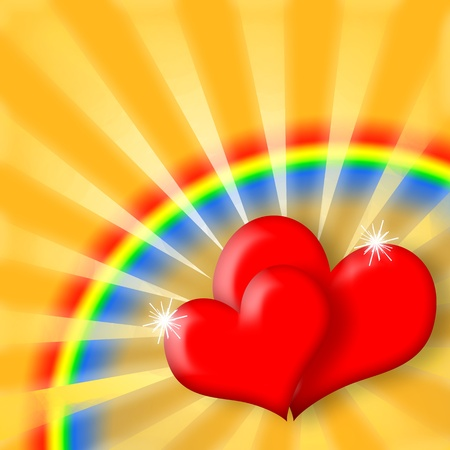Love Shining, Couple of red hearts on joyful background with colorful rainbow Stock Photo - 8849329