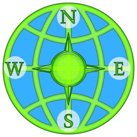Compass windrose illustration isolated over white background illustration