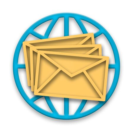 Correspondence, Mail messages in envelopes with blue globe over white background Stock Photo - 8849331