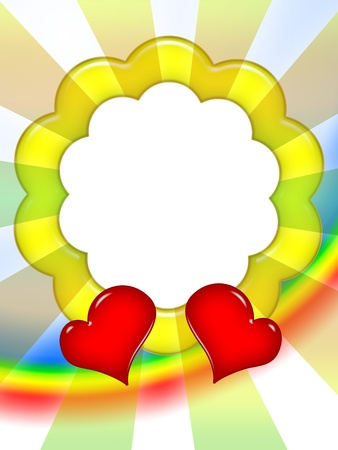 golden border: Bright colorful love photo frame with red hearts and sun rays