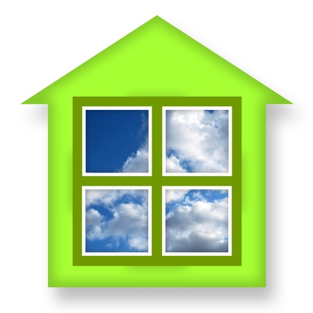 coziness: Green house with blue sky in windows over white background