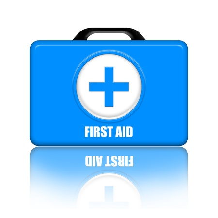 Blue first aid medical kit over white background photo
