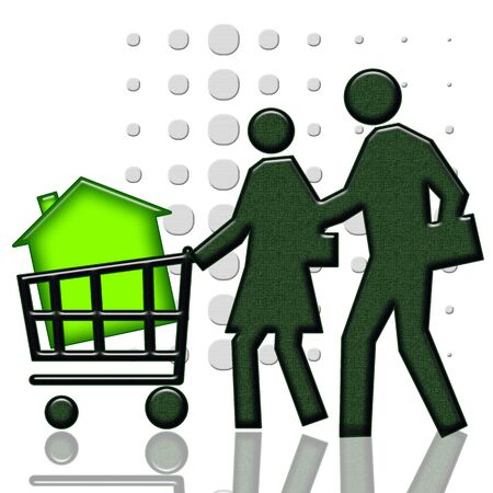 Buying a home, Consumers with green house in shopping cart isolated over white background