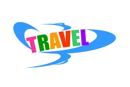 Air travel concept with airplane and colorful travel word photo