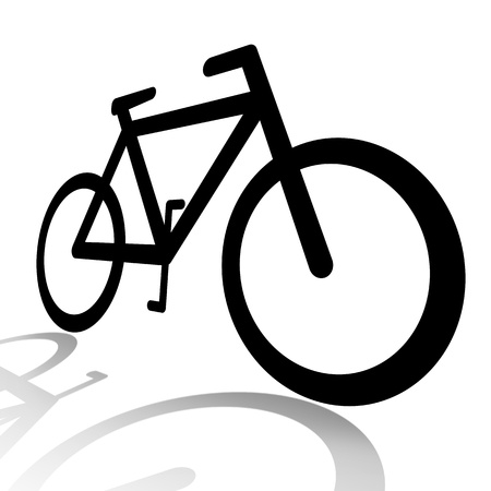 bicycling: Bicycle silhouette illustration isolated over white background