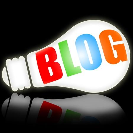 Blog lamp conceptual illustration over black background Stock Illustration - 9069520