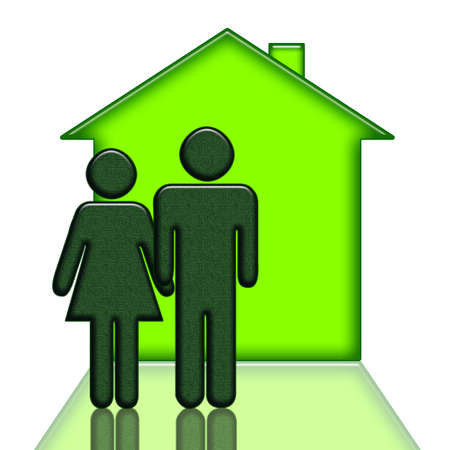 People and new house green illustration isolated over white background Stock Illustration - 9069522