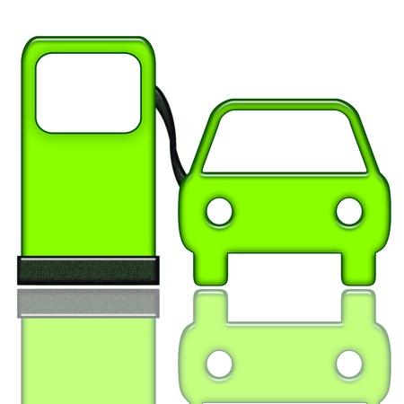 dispensador: Icono de servicio verde de auto de gasolinera con combustible y coches bomba aislada sobre fondo blanco