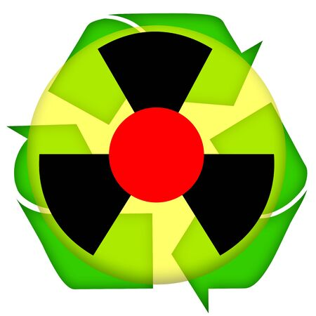 gamma radiation: Nuclear waste recycling icon isolated over white background