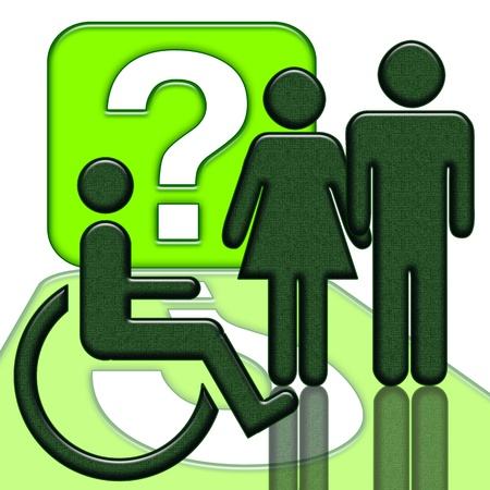 social care: Man and woman near handicapped person in wheelchair green icon isolated over white background