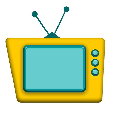 Funny yellow TV with blank screen isolated over white background