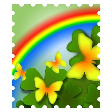 Spring inspired postage stamp illustration with yellow butterflies and colorful rainbow illustration