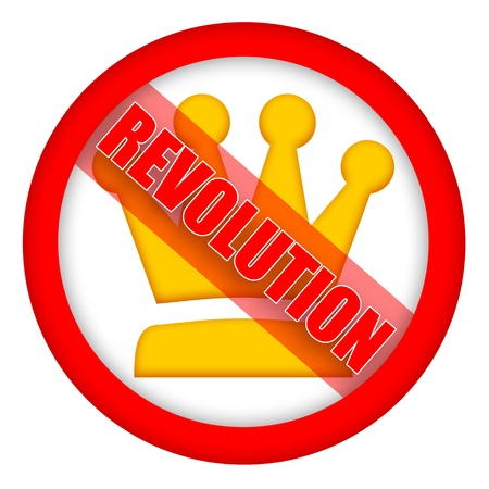 Revolution sign with golden crown isolated over white background  photo