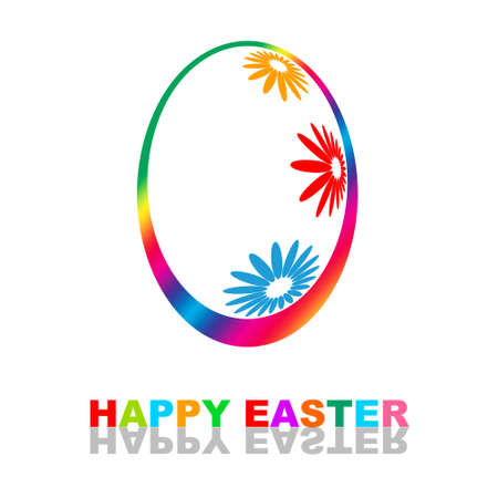 Happy Easter colorful illustration with egg decorated flowers illustration