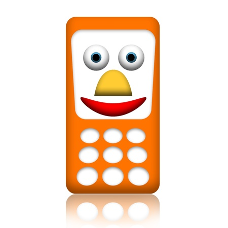 mobile sms: Orange smiling friendly mobile phone isolated over white background Stock Photo