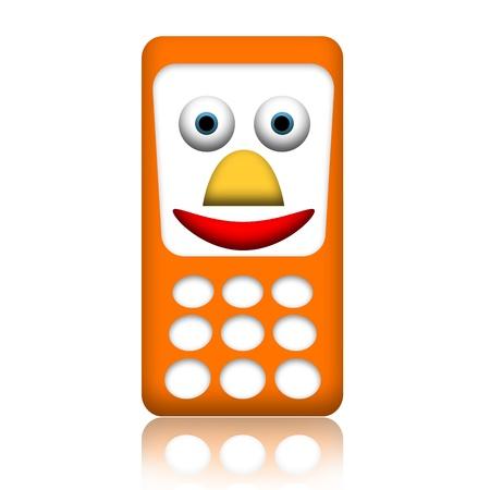 mobiele telefoons: Oranje glimlachend vriendelijke mobiele telefoon geïsoleerd op witte achtergrond