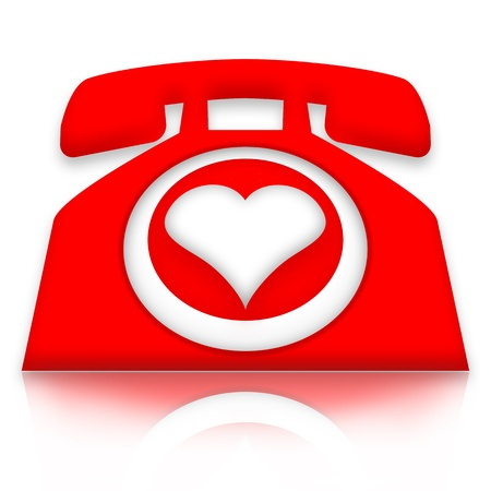 Love on call, Red telephone with heart over white background Stock Photo