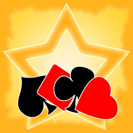 Card games background with playing cards suits and golden star photo