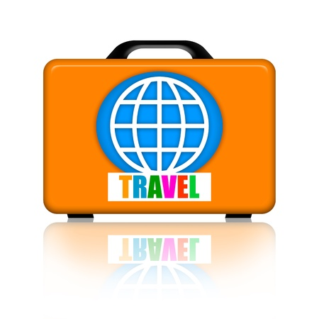 Suitcase for travel with earth globe and sticker isolated over white background photo