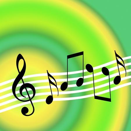 ランダムな音楽的な記号とバック グラウンド ミュージック