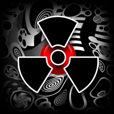 Fusión nuclear, símbolo radiactivo negro sobre fondo de metal industrial de fusión Foto de archivo - 9283466