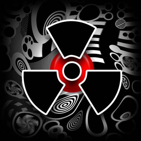 Nuclear Meltdown, black radioactive symbol on melting industrial metal background