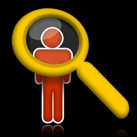 verify: Researching people, abstract person under magnifier glass over black background Stock Photo