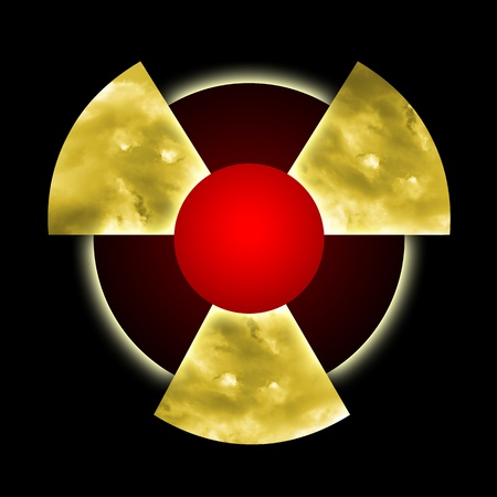 Radioactive pollution, atomic dust and smoke inside radioactive symbol over black background photo