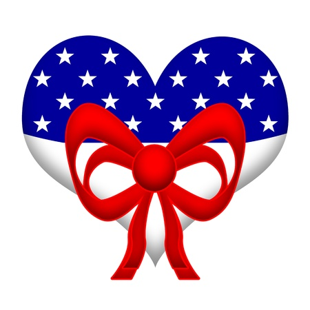 American Heart, US flag styled heart with red festive ribbons isolated on a white background photo