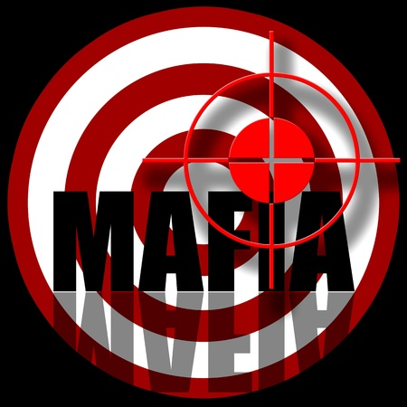 inscription: Mafia, Aiming to target with inscription, illustration over black background