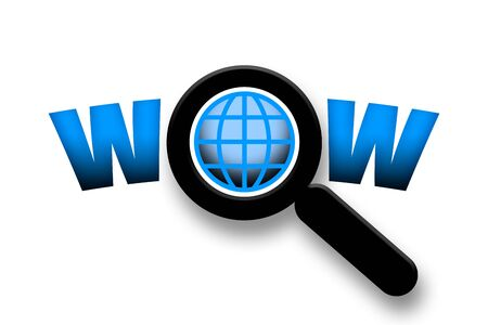 sensation: Wow, Globe under magnifier glass discovery concept illustration over white background