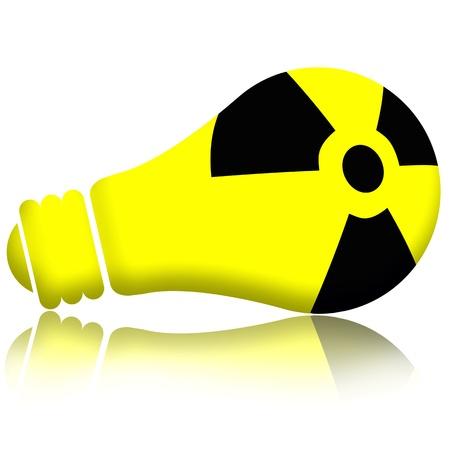 nuke plant: Energ�a At�mica en electric lamp, concepto de energ�a nuclear, aislado sobre fondo blanco