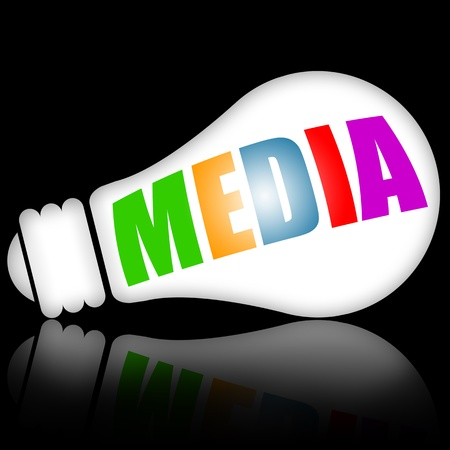 advertising text: Media concept illustration with electric lamp vs black background