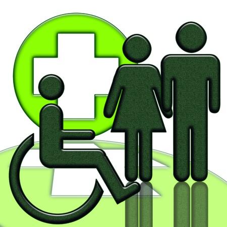disability insurance: Icona di aiuto medico di persona con handicap isolato su sfondo bianco Archivio Fotografico