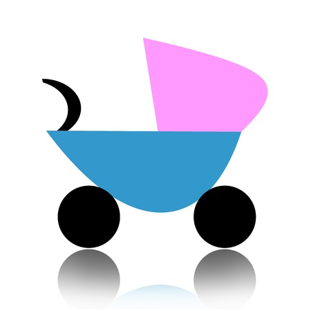 Abstract baby carriage isolated over white background photo